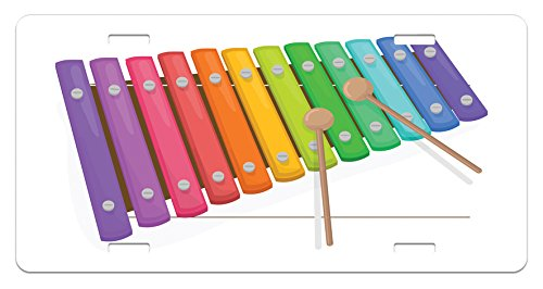Lunarable Xylophone License Plate, Percussion Instrument Modern Sound with Pitch Tempo Rhythm Harmony Image, High Gloss Aluminum Novelty Plate, 5.88