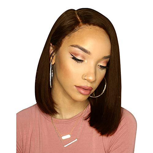 DDgrin Short Bob Lace Front Human Hair Wigs for Black Women, 150% Density Pre Plucked and Bleached Knots Natural Hairline -