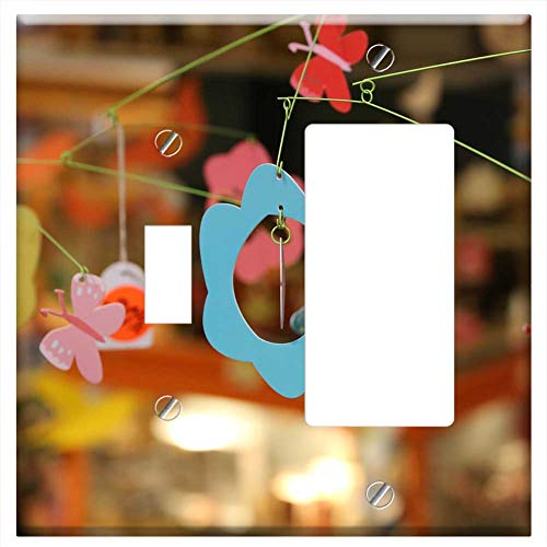 (1-Toggle 1-Rocker/GFCI Combination Wall Plate Cover - Crib Mobile Flowers Baby Crib Child Toy Nurse)