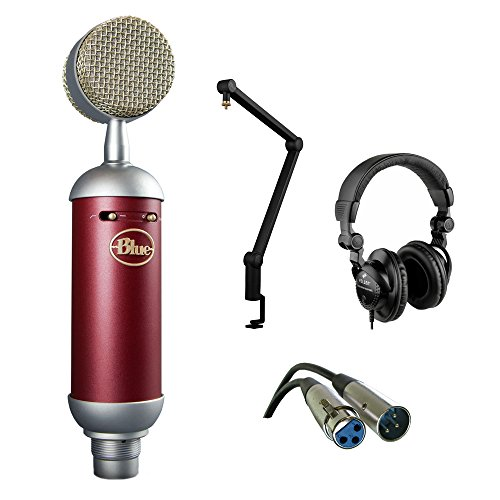 Blue Spark SL Large-Diaphragm Studio Condenser Microphone with Blue Compass Tube-Style Broadcast Boom Arm, HPC-A30 Studio Monitor Headphone and XLR-XLR Cable