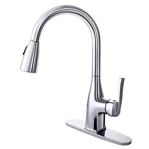 Chrome Stainless Steel Single - Kitchen Faucet with Sprayer - BOHARERS Single Handle Pull down Sprayer Stainless Steel Spot Resist, Polished Chrome