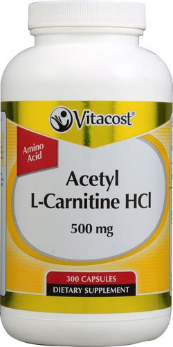 Vitacost Acetyl L-Carnitine HCl -- 500 mg - 300 Capsules - 3PC by Vitacost Brand