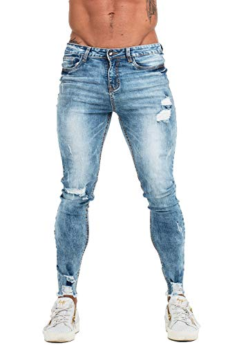 (GINGTTO Mens Skinny Ripped Jeans Slim Fit Distressed Denim Jeans for Men Blue 34)