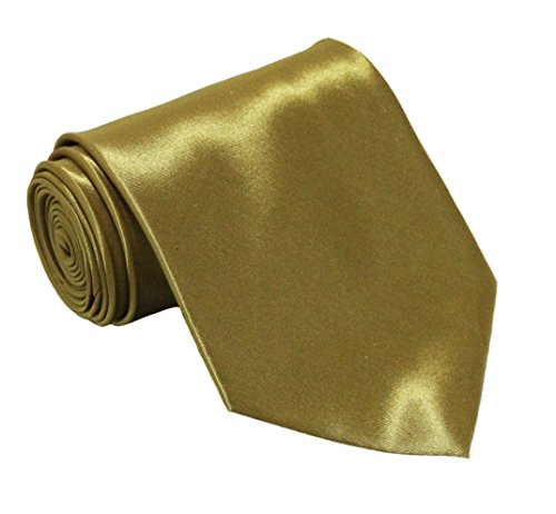 Soophen NEW Mens Necktie SOLID Satin Neck Tie - New The Gold Solid