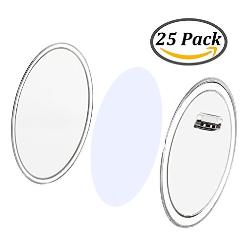Resinta Clear Acrylic Design a Button Craft Pin Buttons Badges with Circle Paper for Craft Supplies or DIY Badges, 25 Sets, 2.36 - Badge Acrylic