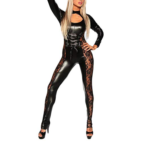 Xinantime Sexy Costume PU Leather Cosplay Bodysuit Outfit Lingerie Clubwear Wet Look Full Body Lace Lingerie Jumpsuit Black ()