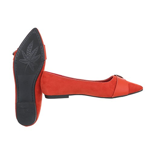 Ital-Design Klassische Ballerinas Damen-Schuhe Klassische Ballerinas Blockabsatz Blockabsatz Ballerinas Rot, Gr 36, 127-17-