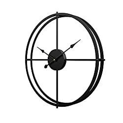 RuiyiF 16 Inch Silent Wall Clock Non Ticking, Metal Vintage Unique Wall Clocks Large Decorative for Kitchen Living Room Office (Black, 16 Inch)