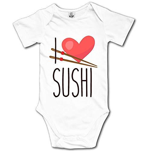 V5DGFJH.B Baby Toddler Climbing Bodysuit I Heart Sushi Infant Climbing Short-Sleeve Onesie Jumpsuit for $<!--$13.60-->