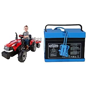 Peg Perego Case IH Magnum Tractor/Trailer with 12 Volt Battery Bundle