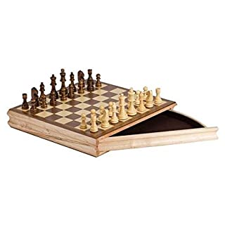 "CHH 2142 14"" Sector Chess Set Recreational Game with a Drawer, Cream and Brown"