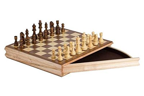 """CHH 2142 14"""" Sector Chess Set Recreational Game with a Drawer, Cream and Brown"""