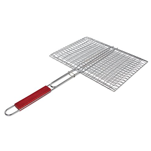 BYNHIEO charcoal companion Portable rectangular BBQ Grill Basket,Perfect Outdoor Accessories for vegetables, fish, steaks and many other foods. (Silver)