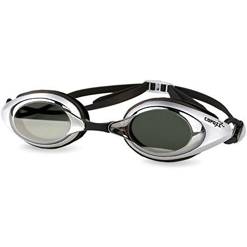 Competitive Swim Goggles,COPOZZ 3550 Racing Adult Youth Swimming Goggles With Mirrored Silver Lens-Anti Fog UV Protection No Leaking For Triathlon Competition Men Women - Salt Prices Eyewear