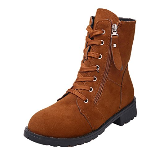 Ankle Boot, LuckyBB Suede Soft Leather Women Boots Zip Short Plush Boots Shoe Browm