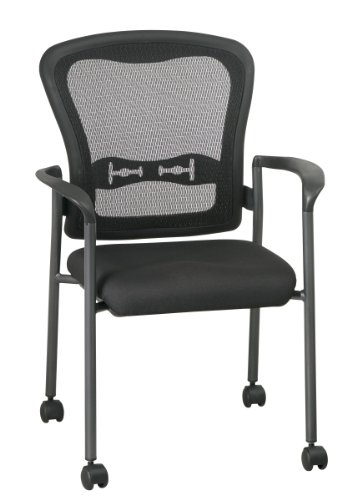 - Office Star Breathable ProGrid Back and FreeFlex Coal Seat with Arms and Lumbar Supprt Stacking Chair with Casters, Titanium Finish