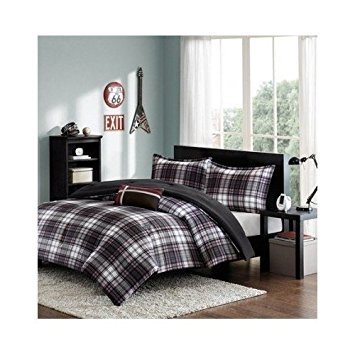 Comforter Bed Set Black White Red Plaid Print Teen Bedding Bedspread Pillow Update Home Decor (Twin/twin Xl) by Mi-Zone (Image #4)