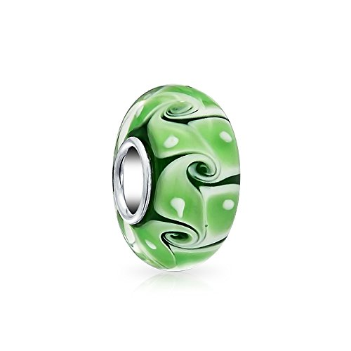 Silver Swirl Charm - Bling Jewelry Green Swirl white Dot Murano glass Lampwork Charm Bead .925 Sterling Silver