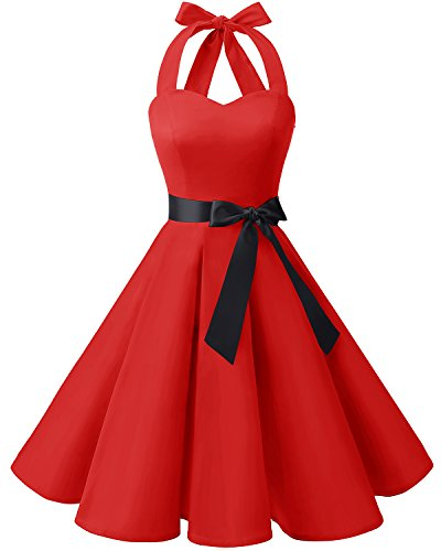 Robe Vintage Halter Red Bridesmay Rtro Hepburn Annes Ceinture Style Audrey Rockabilly avec 50 6Ad5qdw