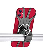 Bike Phone Mount Qipima Universal Bicycle Phone Holder, Adjustable Silicone Handlebar Crack for for iPhone 11 Pro Max/XS Max/XR/X/6/7/8 Plus, Compatible for Galaxy S10/S9/S8 Plus, 360° Rotation Adjustable Mountain Bicycle Motorcycle Phone Mount Holder for All 4 to 6.5 inch Phones