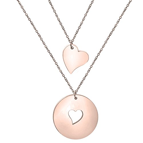 Zuo Bao Mother and Daughters Necklace Set- Mom and Daughter Jewelry- Gift for Mom (Rose Gold-1 Daughter) ()