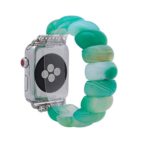 Turquoise Beaded Watch - KAI Top Unique Handmade Beaded Elastic Stretch Natural Agate Fashion Bracelet Strap Women Girls,Compatible Apple Watch Band Series 3/2/1 38mm 42mm (Green Agate, 38mm)
