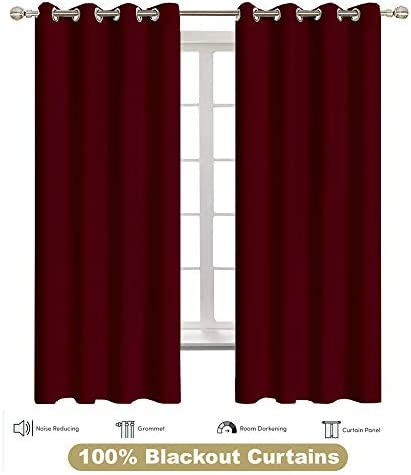 Shreem Linen Blackout Curtains for Bedroom – Grommet Thermal Insulated Room Darkening Curtains for Living Room, Set of 2 Panels 24 inches Wide x 78 inches Long , Burgundy Solid