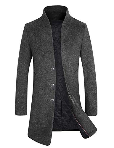 (Men's Winter Wool Trench Coat Business Suits Long Top Coat Jacket 1681 Gray L )