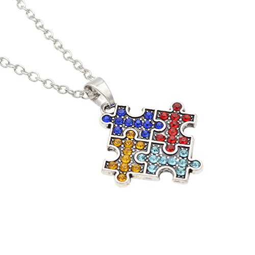 wholesale Puzzle Piece Jigsaw Heart Cross Pendant Necklace Autism Awareness Necklace Unisex Gift 1 Pc get discount