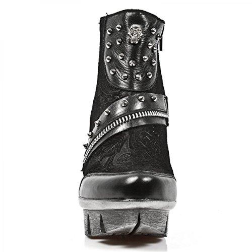 New Rock Boots M.neopunk001-s1 Gotico Hardrock Punk Damen Stiefelette Schwarz