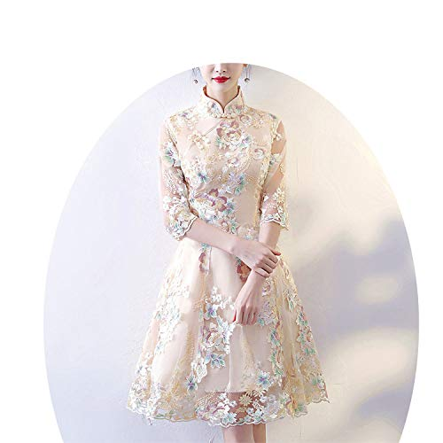 肘ホップトランジスタヴィンテージ中華スタイルウェディングドレスレトロミニガウン結婚式パーティーイブニングドレス,スタイル1,XXXL