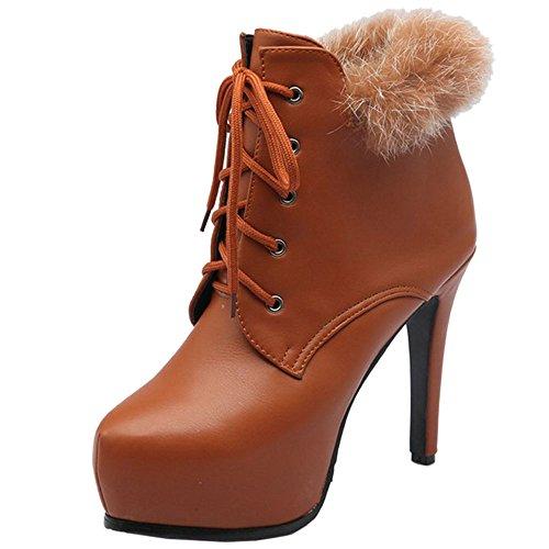 COOLCEPT Women Warm Booties Stiletto Brown WO5eZ2dp6H