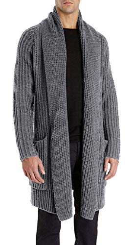 (Enjoybuy Mens Shawl Collar Open Front Cable Knit Long Cardigan Sweaters Coats with Pockets (Medium, Grey))