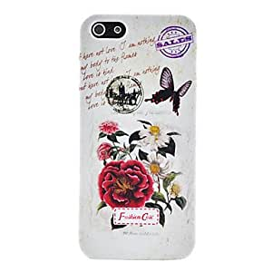 LCJ Retro Flowers and Butterfly Pattern Plastic Case for iPhone 5/5S
