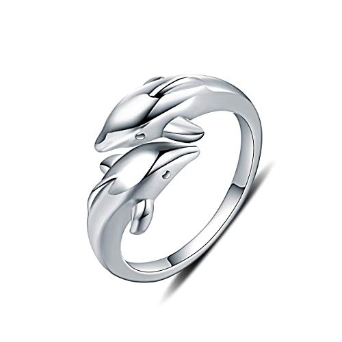 Mother's Day Valentine's Gift 925 Sterling Silver Dolphin Adjustable Rings for Women Tarnish Resistant Engagement Wedding Band Ring US Size 5-8