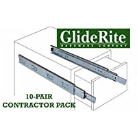 GlideRite Hardware 1070-ZC - 10-inch 100 Lb. Full Extension Ball Bearing Drawer Slides with 1 Over-travel (10 Pairs) by GlideRite Hardware