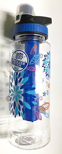 Cool Gear 32 oz. Tritan Avenger EZ Freezer Stick Sport Bottle - Flip Top Chugger Lid - Blue Floral & Feathers by Cool Gear