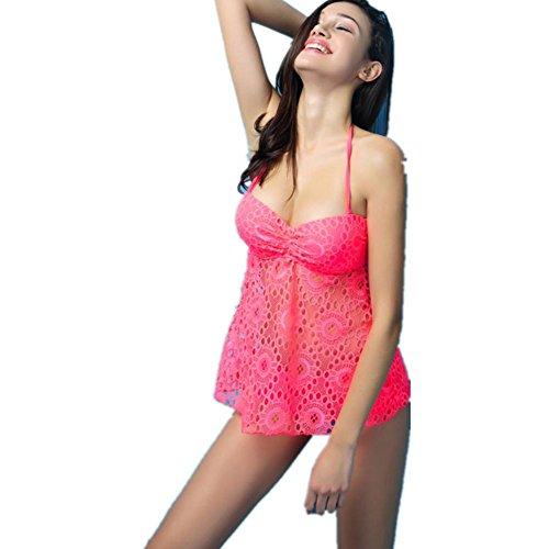 SHISHANG La Sra. Bikini Europa y los Estados Unidos cordón de acero de encaje recolectado las mujeres de las mujeres de ángulo traje de baño partido de alta elasticidad protección del medio ambiente Pink