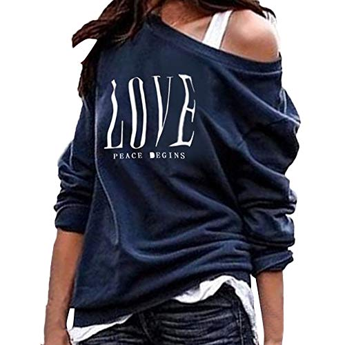 Joopee Women Love Peace Begins Letter Print Long Sleeve Skew Neck Solid Loose Pullover(S,Navy)]()