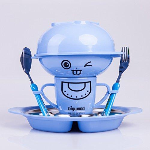 Kindergeschirr Set 304 Edelstahl-Schüssel Widerstand Baby fallen Reisschüssel ausgeschlossen Säugling Tablett Geschenke wärmer Schale essen