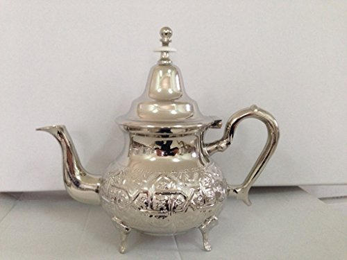 Moroccan 4 Cups Tea Pot W/ 4 Welded Legs Handmade Serving Small Brass Silver Plated Teapot Hand Carved in Fez Morocco