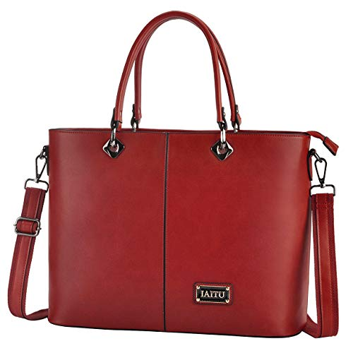 (IAITU Laptop Tote Bag, 15.6 inch Large Capacity Shoulder Bag for Work Business Travel (red))