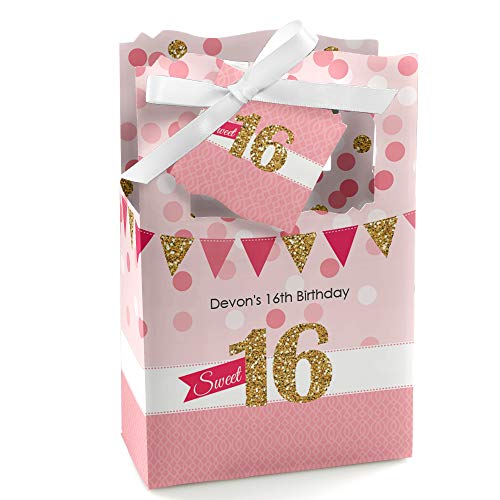 (Custom Sweet 16 - Personalized Birthday Party Favor Boxes - Set of 12)