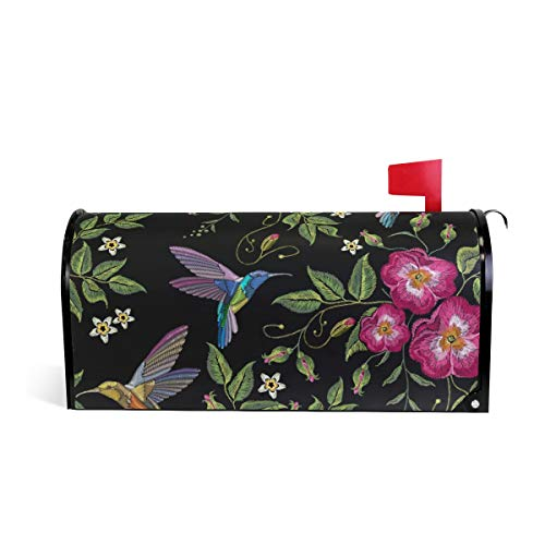 Magnetic Mailbox Cover Roses Leaf Hummingbirds Embroidery Mail Wraps Cover Letter Post Box 20.8