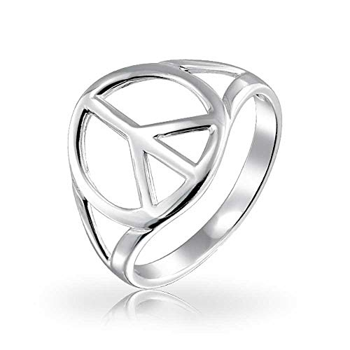 Open Symbol World Peace Sign Ring For Teen For Women 925 Sterling Silver Spilt Shank Band ()