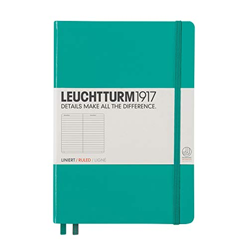 Leuchtturm1917 Medium A5 Ruled Hardcover Notebook (Emerald) - 249 Numbered Pages ()