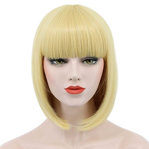 Karlery Women Short Straight Bob Fasion Wig Flat Bangs Cosplay Party Wig Costume Halloween Wig (Gold)