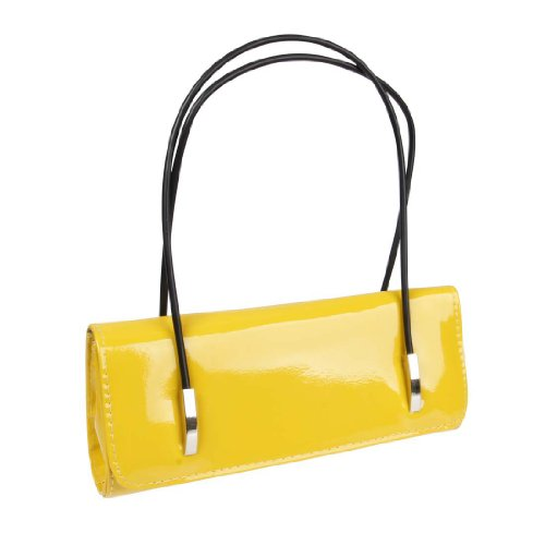 BMC Womens Synthetic Patent Leather Evening Clutch w/Black Cord Shoulder Straps - CITRON YELLOW ()