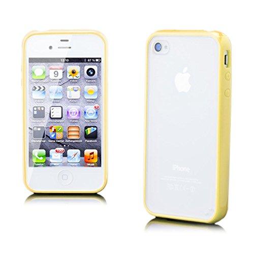 Apple iPhone 4 / 4S | iCues pare-chocs TPU mat Retour Jaune | [Protecteur d'écran, y compris] protecteur de feuille transparente Temps clair de gel de silicone Housse étui de protection couverture Coq