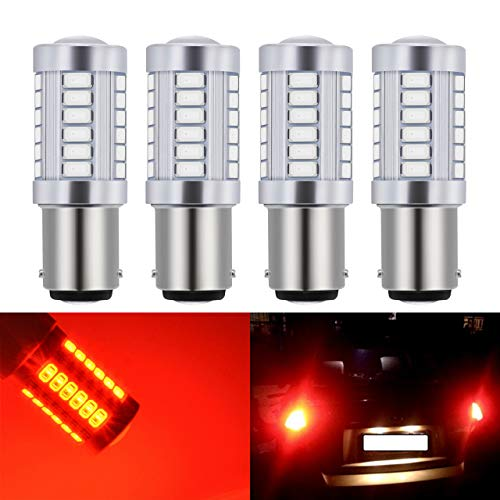 KaTur 4pcs 1157 BAY15D 5630 33-SMD Red 900 Lumens Super Bright LED Turn Tail Brake Stop Signal Light Lamp Bulb 12V 3.6W